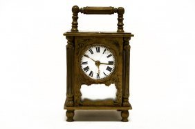 French Brass Carriage Clock With Musical Movement, 19th