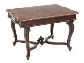 French Transitional Carved Walnut Parquet Inlaid Table.