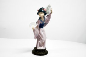 """Lladro Porcelain Figure, """"madame Butterfly"""", #4991."""