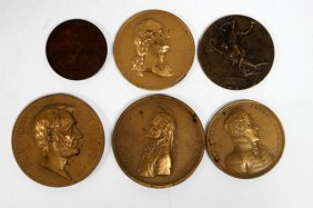 Lot (6) Assorted Bronze Medallions/medals Including