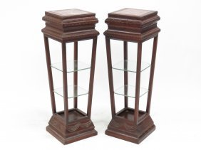 Pair Vintage Marble Top Carved Rosewood Pedestals With