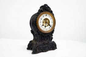 Waterbury Patinated Metal Case Shelf Clock, 19th