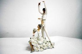"Lladro Porcelain Figure, ""flamenco Dancers"", #4519."