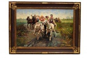 Polish School (19/20th Century) Oil On Canvas, On The
