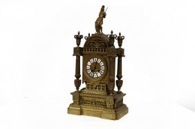 French Bronze Figural Mantle Clock, Signed. Height 21""