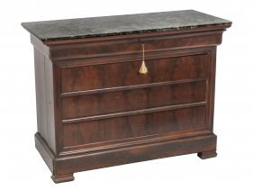 Federal Style Mahogany Marble-top Chest Of Dawers With