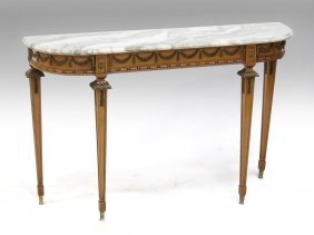 """Regency Style Marble-top Console Table. Height 32"""";"""