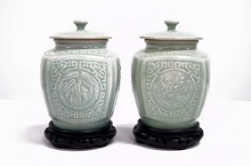 Pair Chinese Carved Celadon Porcelain Covered Jars With