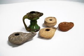 Lot (5) Assorted Roman Pottery Oil Lamps, C.100-200ad