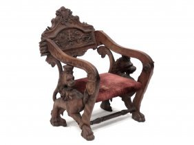 Renaissance Revival Carved Armchair With Full Bodied