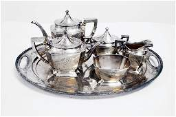 SET CURRIER & ROBY/NEW YORK STERLING TEA SET INCLUDING
