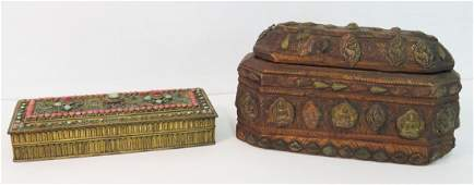 LOT 2 INCLUDING INDIAN GEMSTONECORAL MOUNTED BRASS