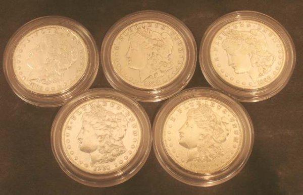 1002: LOT (5) MORGAN SILVER DOLLAR COINS, 1880-1921