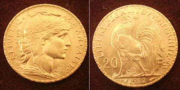 1004: 1912 FRENCH 20 FRANC GOLD COIN (XF)