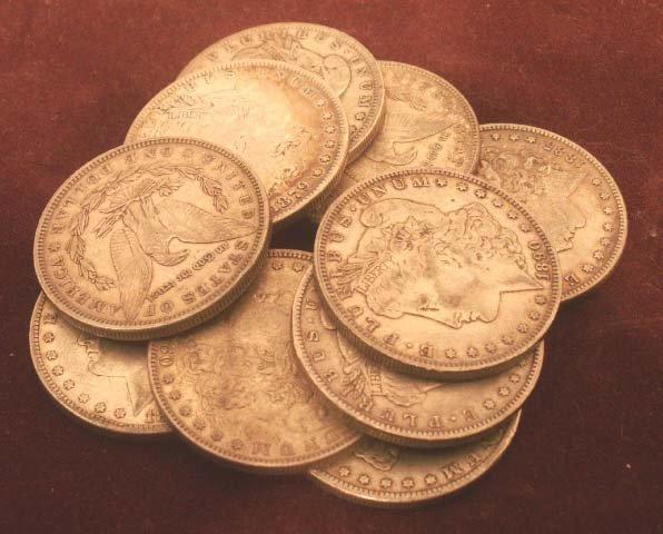 1005: LOT (10) ASSORTED MORGAN SILVER DOLLAR