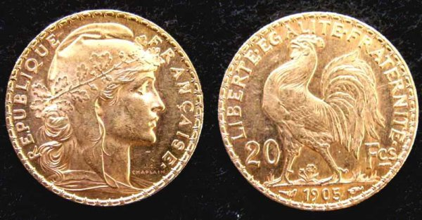 1007: 1905 FRENCH 20 FRANC GOLD COIN (XF)
