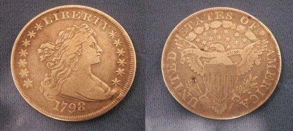 1011: 1798 DRAPED BUST, HERALDIC EAGLE SILVER DOLLAR