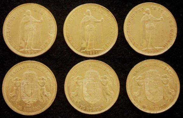 1015: LOT (3) HUNGARIAN 10 KORONA GOLD COINS