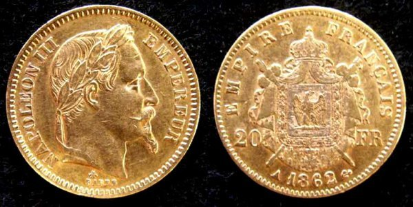 1020: 1862A FRENCH 20 FRANC GOLD COIN (XF)