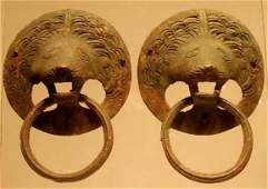1319: PAIR ROMAN BRONZE LION-HEAD HANDLES