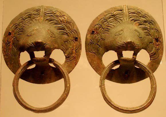 PAIR ROMAN BRONZE LION-HEAD HANDLES