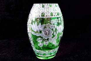 BOHEMIAN FOREST GREEN-CUT-TO-CLEAR GLASS SHAPED OVID