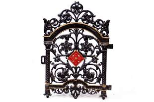 VINTAGE PAINTED CAST IRON BROWNSTONE GATE, MARKED,