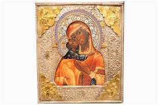 RUSSIAN PRINTED ICON ON WOOD PANEL, MOTHER AND CHILD