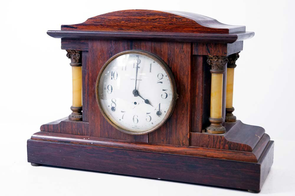 "SETH THOMAS ADAMANTINE MANTLE CLOCK, C.1910. HEIGHT 11"""