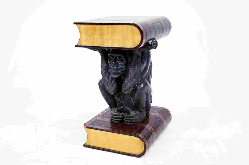 DESIGNER FIGURAL BRONZE MONKEY BASE END TABLE. HEIGHT
