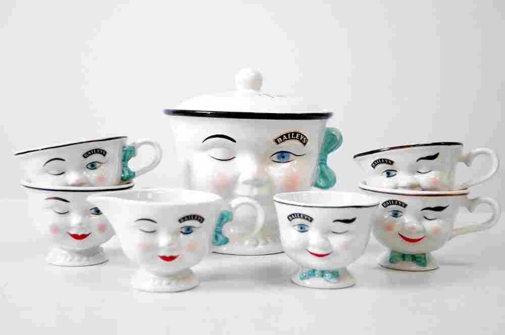 "BAILEYS' DECORATED CERAMIC ""YUM YUM"" SUGAR/CREAMER, (4)"