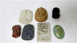 LOT (7) CHINESE CARVED HARDSTONE PENDANTS