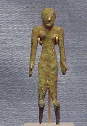 1003: CANNANITE BRONZE FEMALE FIGURE, C.900 B.C.