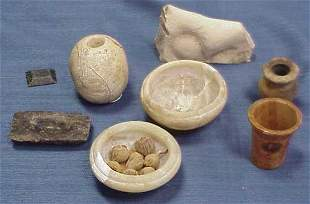 LOT (8) EGYPTIAN STONE ARTICLES INC ALABASTER