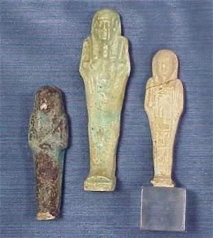 LOT (3) USHABTI INCLUDING FAIENCE, C.1200-715BC.