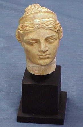 """1037: ROMAN CARVED MARBLE HEAD. HEIGHT 5 1/2"""""""