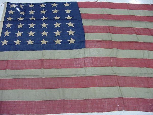 1427: HAND-MADE LINEN 36 STAR AMERICAN FLAG, SGN 1876