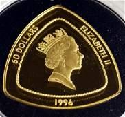 1996 BERMUDA TRIANGLE 999 GOLD 60 DOLLAR COIN 1 OZ