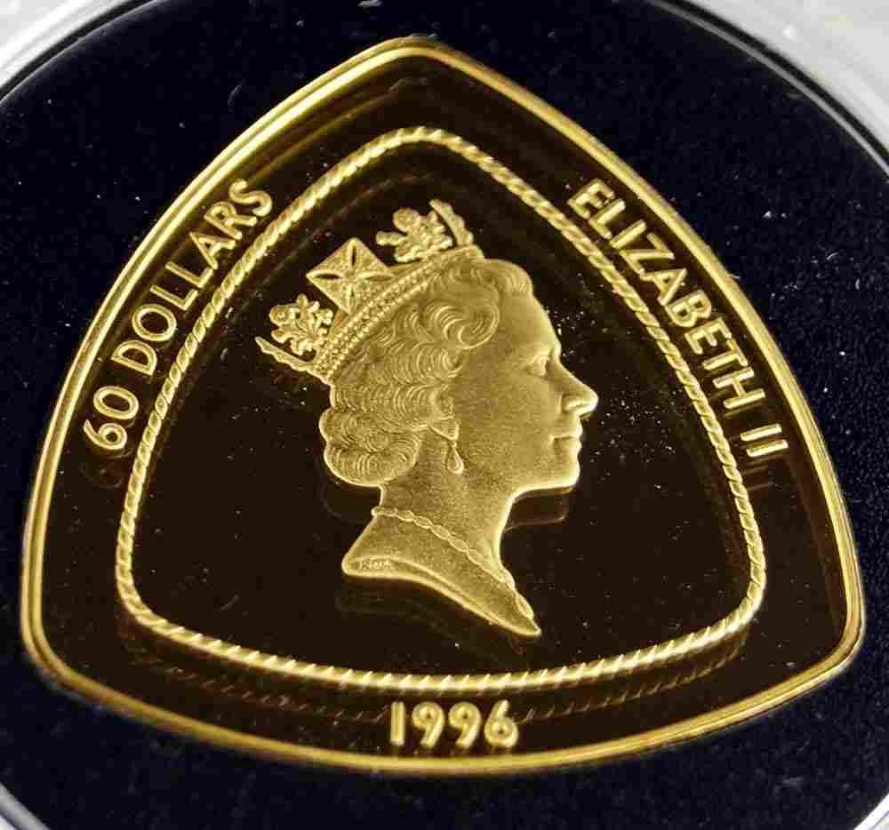 1996 BERMUDA TRIANGLE .999 GOLD 60 DOLLAR COIN, 1 OZ