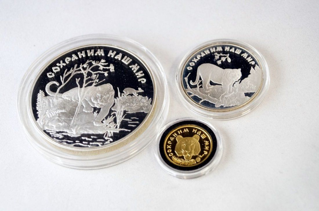 1996 RUSSIAN 3-COIN SIBERIAN TIGER SET INCLUDING .999