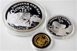 1996 RUSSIAN 3COIN SIBERIAN TIGER SET INCLUDING 999