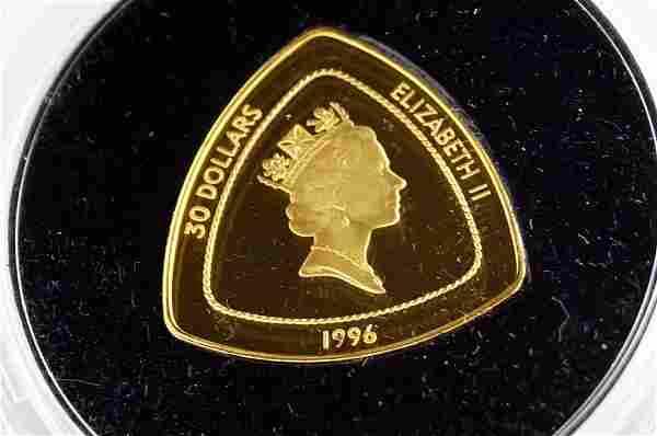 1996 BERMUDA TRIANGLE .999 GOLD, 30 DOLLAR COIN, 15.55