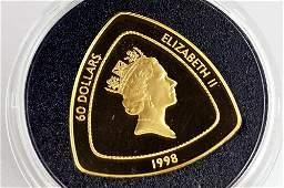 1996 BERMUDA TRIANGLE .999 GOLD, 60 DOLLAR COIN, 1 OZ