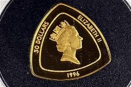 1996 BERMUDA TRIANGLE 999 GOLD 30 DOLLAR COIN 1555