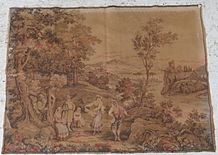 """VINTAGE SCENIC FRENCH TAPESTRY PANEL. 39 X 54"""""""