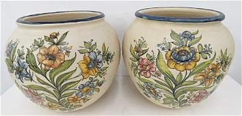 PAIR SPANISH DECORATED CERAMIC VASES SIGNED HEIGHT