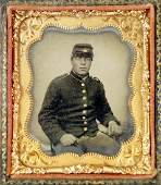 CIVIL WAR TIN TYPE PHOTOGRAPH, AFRICAN AMERICAN SOLDIER