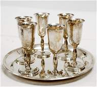 """CARTIER STERLING SILVER TRAY, DIAMETER 7"""" AND (6)"""