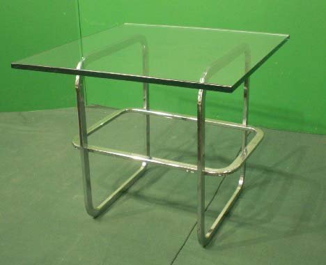 5: DESIGNER CHROME & PLATE GLASS SIDE TABLE