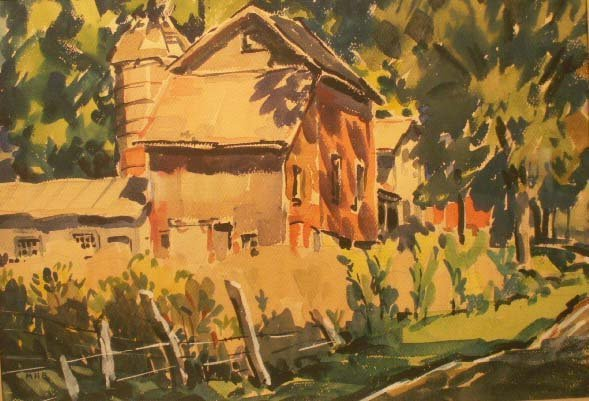 8: WATERCOLOR, COUNTRY FARM, SIGNED MHB